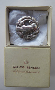 Vintage Danish GEORG JENSEN Sterling Silver Bird / Dove Brooch.  Complete with Original Box