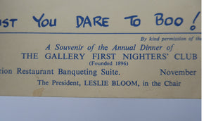 THEATRE HISTORY DOCUMENT:  The Gallery First Nighter's Club Annual Dinner Menu Card 1956