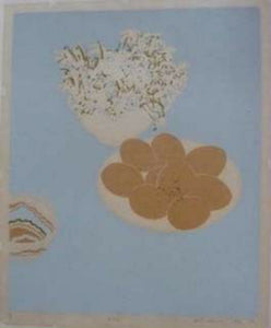 "SCOTTISH ART: Rare Screenprint by Bel Cowie Entitled ""Eggs"". Signed and dated February '75. RARE"