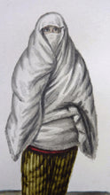 Load image into Gallery viewer, MALTESE ART. Early 19th Century Watercolour Costume Studies by Vincenzo Feneck. Algerian Lady with White Veil