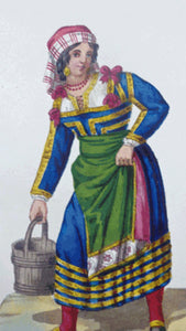 MALTESE ART. Early 19th Century Watercolour Costume Studies by Vincenzo Feneck.  Neapolitan Lady Carrying a Pail of Water