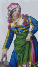 Load image into Gallery viewer, MALTESE ART. Early 19th Century Watercolour Costume Studies by Vincenzo Feneck.  Neapolitan Lady Carrying a Pail of Water