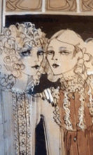 Load image into Gallery viewer, 1960s Vintage Original Fashion Drawing Showing Three Glamour Models in La Mode Outfits