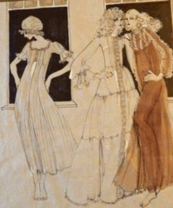 1960s Vintage Original Fashion Drawing Showing Three Glamour Models in La Mode Outfits