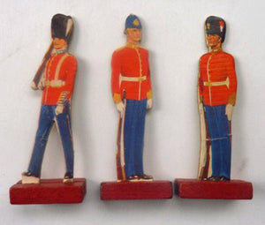 1950s Tin Containing a Selection of Ten Printed and Mounted on Card Soldiers - with Wooden Stands. Rare and Unusual Item