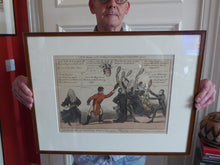 Load image into Gallery viewer, GEORGIAN PRINT. Satirical Print 1810. A New Game of Shuttle Cock ... for John Bull. Hand Coloured Etching. FRAMED