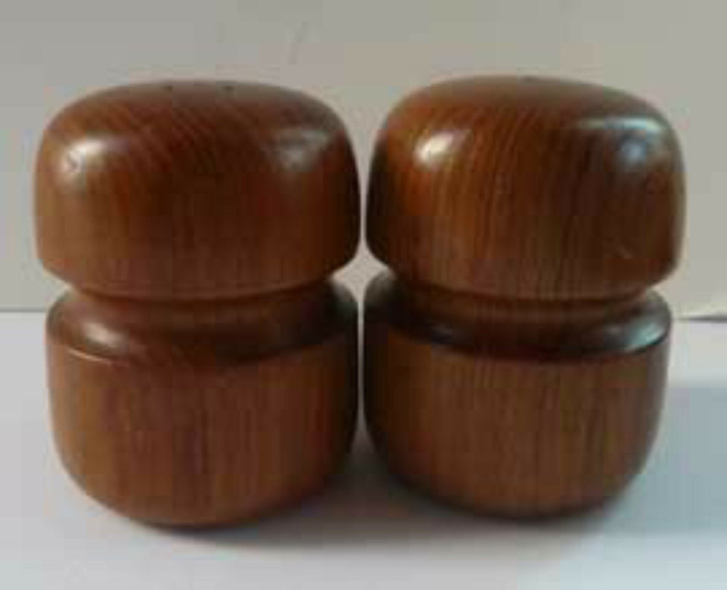 1960s Stylish Vintage Carved Wooden Salt and Pepper Pots