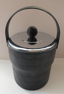 HUGE 1970s Ice Bucket. White Plastic Interior with Embossed Black Polka Dot Exterior; Chrome Lid with Bobble Knop