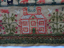 Load image into Gallery viewer, 1821 ANTIQUE Embroidered Sampler. Genuine Scottish Regency Textile. White House Decoration by Margaret Jack of Troon