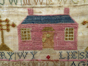 1803 ANTIQUE Embroidered Sampler. Genuine Scottish GEORGIAN Textile. Pink House Decoration by Mary Wylie of Greenock