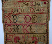 Load image into Gallery viewer, 1851 ANTIQUE Embroidered Sampler. Genuine Early Victorian Scottish Textile by I. McLay
