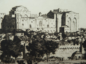 "STANLEY ANDERSON (1884 – 1966). Fine ORIGINAL 1920s Drypoint Etching ""Avignon from the Rhône"". Pencil Signed. Published 1926"