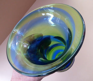 1930s British Art Glass. ART DECO Glass Rainbow Vase by Stevens and Williams (Royal Brierley)