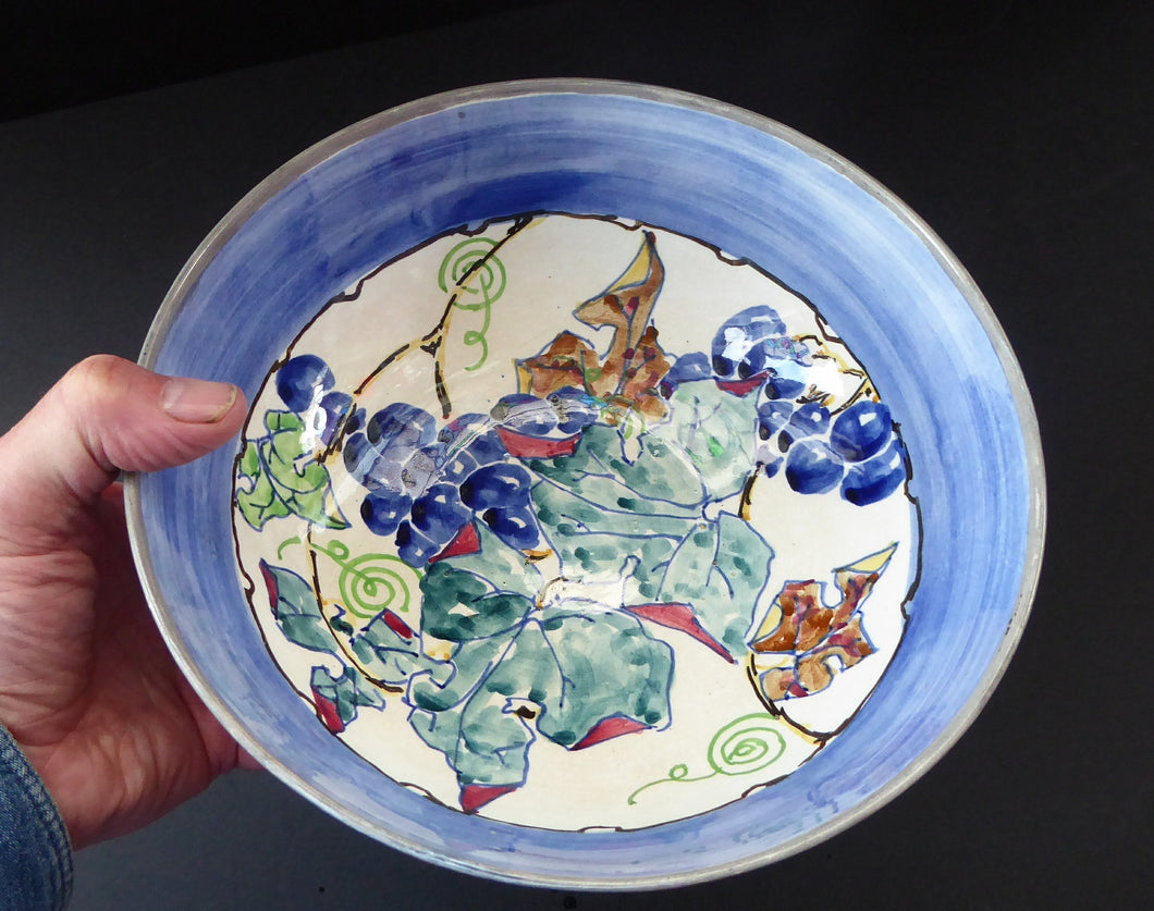 SCOTTISH POTTERY Bowl. Large Size Bough Pottery Fruit Bowl painted by Elizabeth Amour 1920s