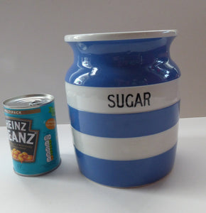 1930s Cornishware Storage Jar: Sugar
