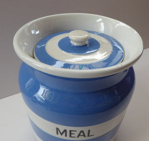 1930s Cornishware Storage Jar: Meal