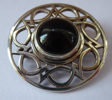 Load image into Gallery viewer, SCOTTISH SILVER Brooch. Stylish Geometric Design with Central Onyx or Dark Agate Stone. EDINBURGH Hallmark
