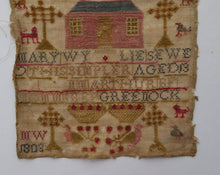 Load image into Gallery viewer, 1803 ANTIQUE Embroidered Sampler. Genuine Scottish GEORGIAN Textile. Pink House Decoration by Mary Wylie of Greenock