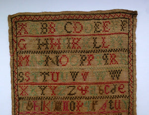 1851 ANTIQUE Embroidered Sampler. Genuine Early Victorian Scottish Textile by I. McLay