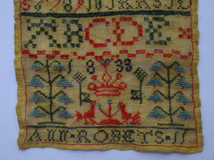 1833 ANTIQUE Embroidered Sampler. Rarer William IV GEORGIAN Scottish Textile by Ann Roberts