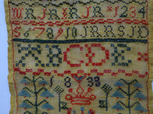Load image into Gallery viewer, 1833 ANTIQUE Embroidered Sampler. Rarer William IV GEORGIAN Scottish Textile by Ann Roberts