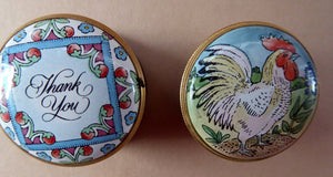 PAIR of Miniature Enamel Trinket Boxes. One HALCYON Days: Thank You. The other BILSTON Battersea with Chicken Image