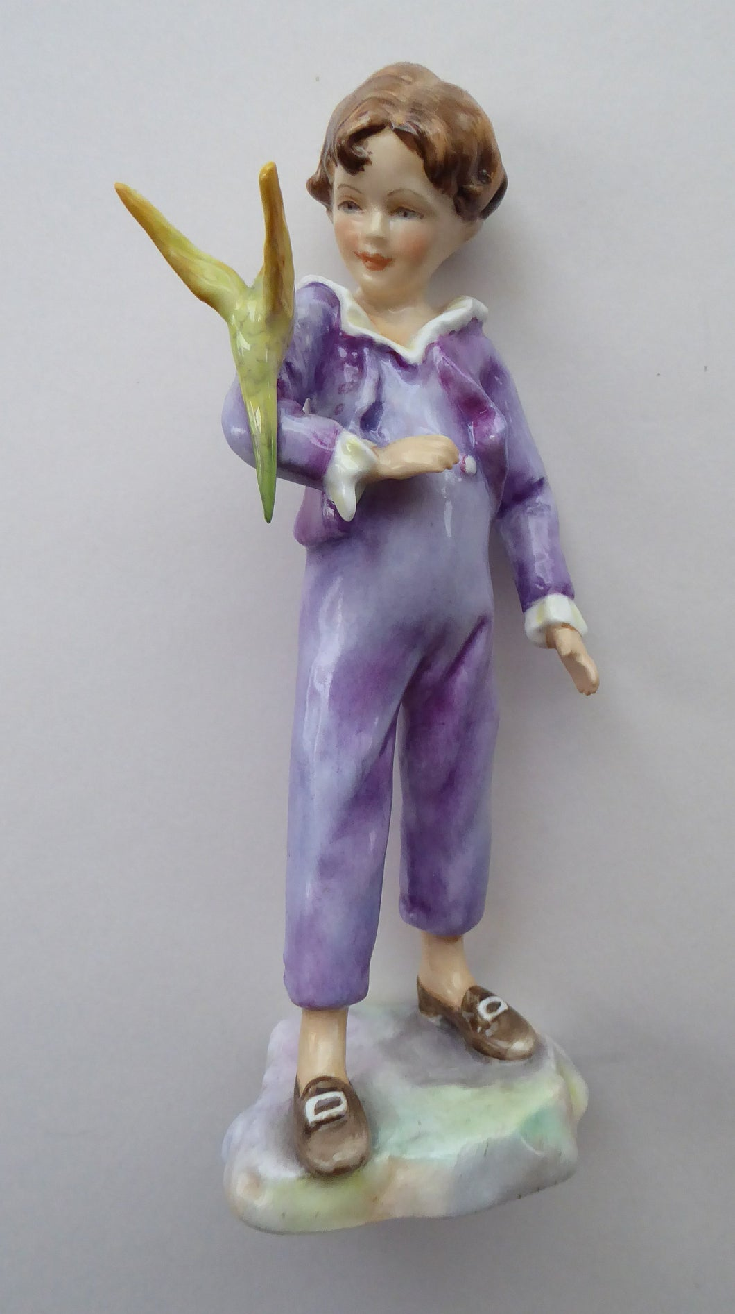Vintage Royal Worcester Figurine The Parakeet. Modelled by Freda Doughty (3087). Rarer Purple Colour and Yellow Bird. PERFECT