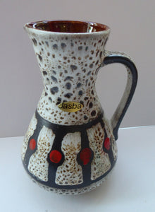 Vintage 1970s West German Pottery Handled Vase or Pitcher. JASBA WARE with Orange Polka Dot Pattern. 6 3/4 inches high