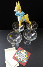 Load image into Gallery viewer, VINTAGE Babycham Job Lot: Large Plastic Babycham Bambi Fawn Model. 7 1/2 inches. Offered with four coupe glasses, Happy Christmas Beer Mat