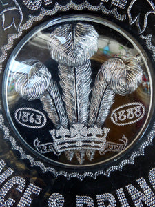 King Edward VII Silver Wedding Clear Pressed Glass Dish. 1863 - 1888. 9 1/4 inches. RARER Royal Memorabilia