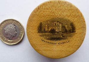 Antique 19th Century MAUCHLINE Ware Miniature Stamp Box, with a wee image of Inveraray Castle