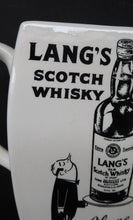 Load image into Gallery viewer, 1950s WHISKY JUG for Lang's Scotch Whisky. Comical Black & White Image. Made by WADE. Excellent Condition