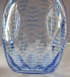 1930s STEVENS AND WILLIAMS Glass Aquamarine Blue Threaded Vase With Golf Ball Pattern. 8 inches high
