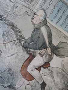 "Antique SATIRICAL PRINT, 1831. ""John Gilpin"" by John Doyle. Lithograph published by Thomas McLean"