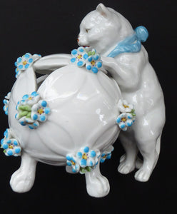 Pretty Victorian era SITZENDORF DRESDEN porcelain cat playing with a ball of wool, possibly a pot pourri holder