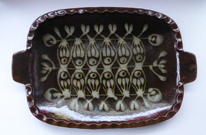 1970s SCOTTISH STUDIO POTTERY Large Rustic Serving Platter. Davey Pottery, Castle Douglas, Kirkcudbrightshire. Abstract Fish Design