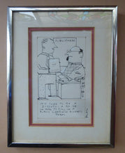 "Load image into Gallery viewer, Pen & Ink BARRY FANTONI Original 1970s Caricature or Cartoon Drawing for Illustration in ""The Listener"""