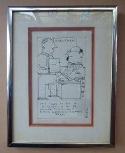 "Pen & Ink BARRY FANTONI Original 1970s Caricature or Cartoon Drawing for Illustration in ""The Listener"""
