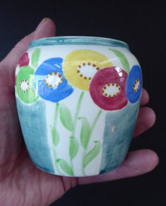 SCOTTISH POTTERY. Sweet Little 1920s BOUGH Ceramic Pot or Miniature Vase. Pretty Hand Painted Floral Design