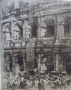 "LISTED ARTIST: William Walcot (1874 - 1943). Large Etching entitled ""The Colosseum, Rome"". Signed in Pencil"