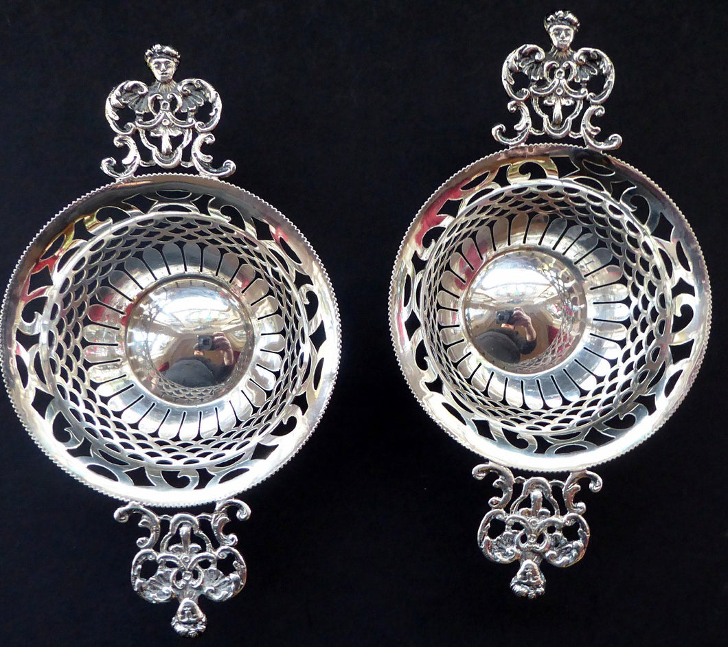 VICTORIAN Pair of SOLID SILVER Bon Bon Dishes. Hallmarked 1901. Fabulous Piercework & Angel Head Handles. Fitted Case