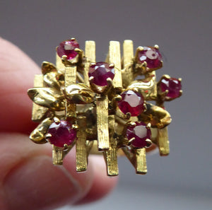 1970s Vintage 9ct Gold Ring in the BRUTALIST Style. Set with Ruby Chips. Size P
