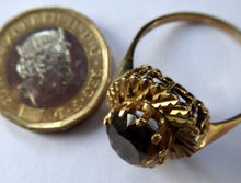 Load image into Gallery viewer, 1970s Vintage 9ct Gold Ring with Decorative Shoulders and Stone Setting. UK Size W. LARGE Oval Faceted Smoky Quartz Stone Set in Two Tiers