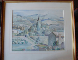 ALICE M. COATS. Large 1950s Watercolour of a Tuscan Landscape. Signed with initials and dated 1950