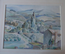 Load image into Gallery viewer, ALICE M. COATS. Large 1950s Watercolour of a Tuscan Landscape. Signed with initials and dated 1950