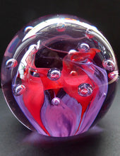 Load image into Gallery viewer, SCOTTISH GLASS. Vintage Caithness Paperweight Entitled DIABELO. 1993 Purple and Red Swirls with Controlled Air Bubbles
