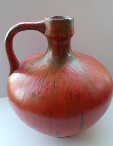 1960s LARGE West German Ruscha Vase with Handle. Scarlet Red Thick Volcano Glaze