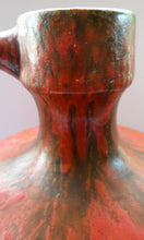 Load image into Gallery viewer, 1960s LARGE West German Ruscha Vase with Handle. Scarlet Red Thick Volcano Glaze