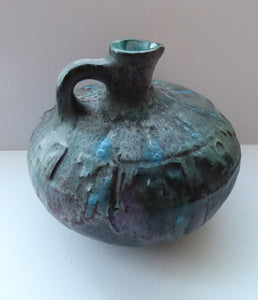 1960s LARGE West German Ruscha ANTIK Glaze Vase with Handle. Black, Teal and Purple Lava Glaze. Model No. 62