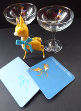 Load image into Gallery viewer, VINTAGE Babycham Job Lot: Small Plastic Babycham Bambi Fawn Model. 5 inches. Offered with two coupe glasses, beer mat and order pad